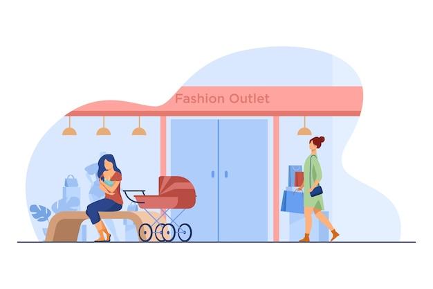 Moeder voedende baby in de buurt van mode-outlet. winkel, kinderwagen, winkelen platte vectorillustratie. moederschap en borstvoeding