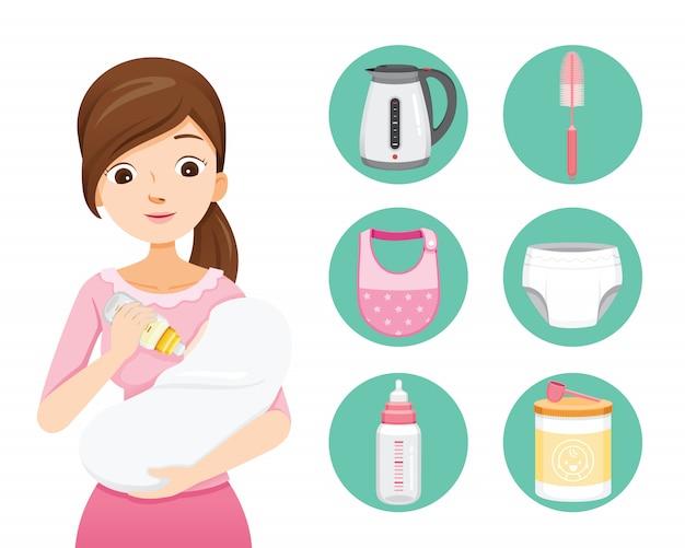 Moeder voedende baby met melk in zuigfles. baby pictogrammen instellen