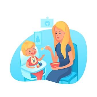 Moeder voedende peuter met lepelillustratie. ouderschap, moederschap illustratie. babyjongen zittend in kinderstoel, eten zuigelingenvoeding clipart. jonge moeder met kind stripfiguren