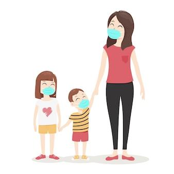 Moeder wandelen met haar kinderen