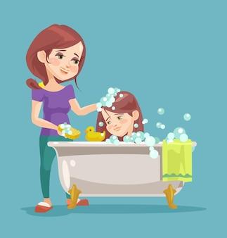 Moeder wast haar dochter. platte cartoon afbeelding