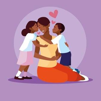 Moeder zwart met schattige kinderen avatar karakter