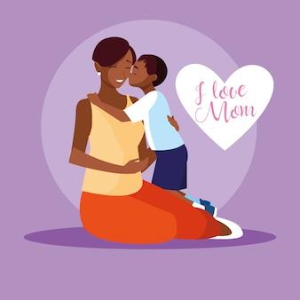 Moeder zwart met schattige zoon avatar karakter