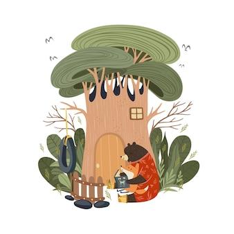 Moederbeer leest verhaalverhaal voor het slapengaan aan een babyvos voordat hij in het bos gaat slapen