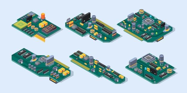 Moederbord isometrisch. computer fabricage kleine chip microschema plaat halfgeleider elektronische onderdelen set.