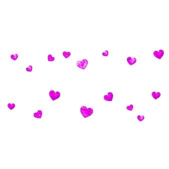 Moederdag achtergrond met roze glitter confetti. geïsoleerde hartsymbool in roze kleur. ansichtkaart voor moederdag. liefdesthema voor cadeaubonnen, vouchers, advertenties, evenementen. vrouwen vakantie sjabloon