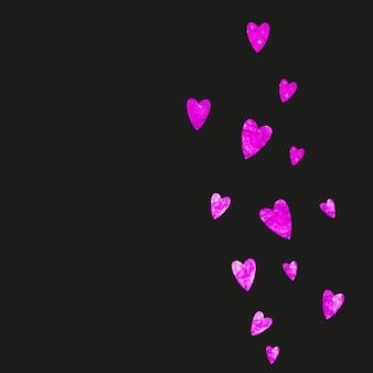 Moederdag achtergrond met roze glitter confetti. geïsoleerde hartsymbool in roze kleur. ansichtkaart voor moederdag. liefdesthema voor feestuitnodiging, winkelaanbieding en advertentie. vrouwen vakantie sjabloon