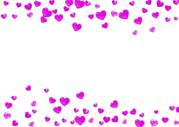 Moederdag achtergrond met roze glitter confetti. geïsoleerde hartsymbool in roze kleur. ansichtkaart voor moederdag. liefdesthema voor flyer, speciale zakelijke aanbieding, promo. vrouwen vakantie sjabloon