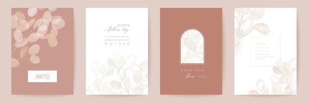 Moederdag bloemen vector kaart. groet lunaria bloemen sjabloonontwerp. aquarel minimale ansichtkaart set. droog pampasgras frame. lentebloem nodigt typografie uit. vrouwendagbrochure