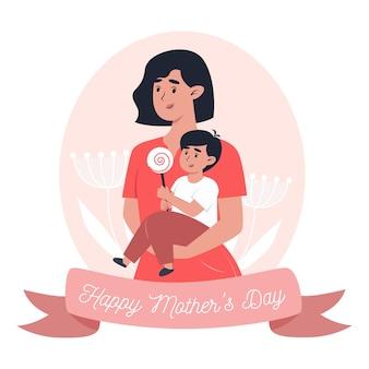 Moederdag kaart, moeder houdt zoontje in haar armen