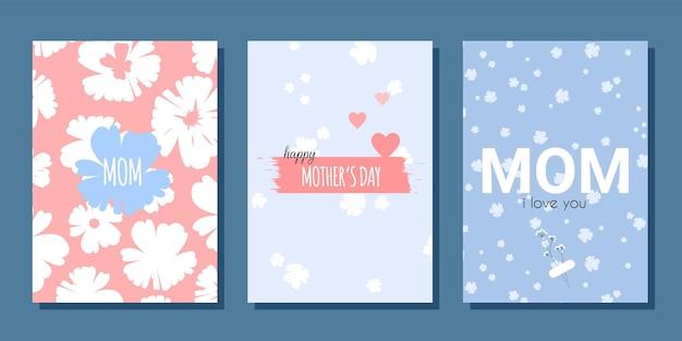 Moederdag kaartenset met bloemen