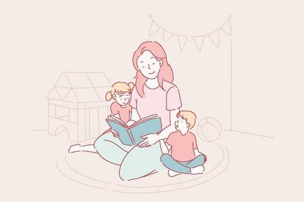 Moederdag, kleuterschool, moederschap concept.