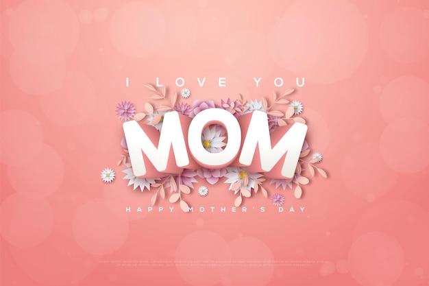 Moederdag met de woorden i love you mom 3d in reliëf op een roze