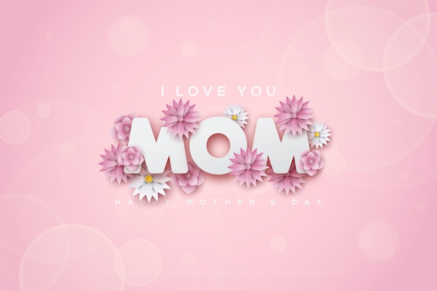 Moederdag met de woorden ik hou van je moeder met roze lotusbloemen.