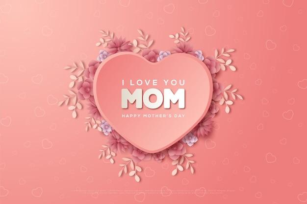 Moederdag met de woorden ik hou van je moeder temidden van een liefdesballon.