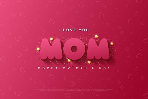 Moederdag met moeder schrijven gearceerd op een kastanjebruin rood