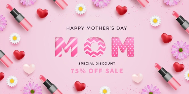 Moederdag met realistische rode harten, bloemen, lippenstiften en moederbrief met patroon op roze oppervlak.