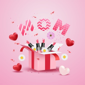 Moederdag met verrassingsgeschenkdoos, realistisch rood hart, bloemen, confetti en schattige moederbrief op roze oppervlak.