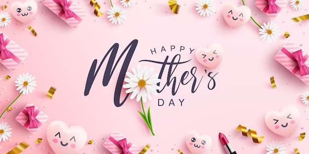 Moederdag poster of banner met liefjes, bloem en roze geschenkdoos op roze achtergrond. promotie en winkelen sjabloon of achtergrond voor liefde en moederdag concept