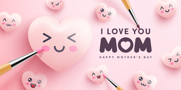 Moederdag poster of banner met schattige harten en schilderen op roze achtergrond. promotie en winkelen sjabloon of achtergrond voor liefde en moederdag concept