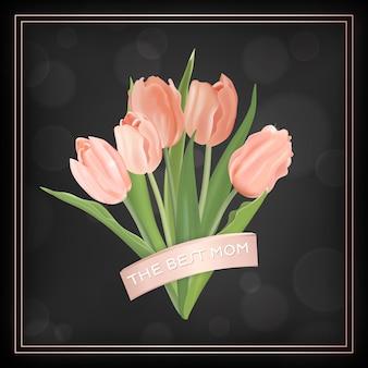 Moederdag sjabloon voor spandoek met tulpen bloemen boeket. moederdag vakantie floral wenskaart voor flyer, brochure, verkoop voorjaar korting sjabloon. vector illustratie