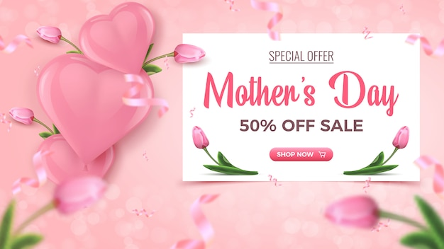 Moederdag speciale aanbieding banner. 50 procent korting verkoop bannerontwerp met wit frame, roze hartvormige luchtballonnen, tulpen en vallende folie confetti op roze achtergrond.