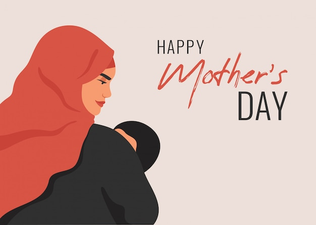Moederdag wenskaart. arabische moeder bedrijf zoontje in haar armen.