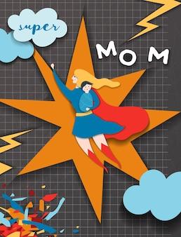Moederdag wenskaart in comics paper cut stijl. super mom-personage in red cape paper cut design voor mother day banner, poster, achtergrond. vector illustratie