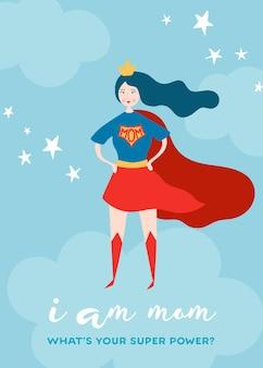 Moederdag wenskaart met super mom. superheld moeder karakter in red cape design voor moederdag poster, banner, achtergrond. vector platte cartoonillustratie