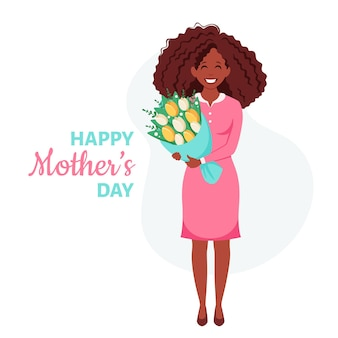 Moederdag wenskaart zwarte vrouw met boeket bloemen Premium Vector