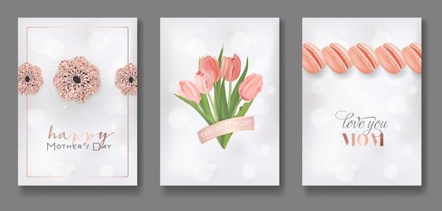 Moederdag wenskaarten ontwerpset. happy mother day flyer met bloemen, geschenken en gouden glitter harten voor poster, banner, uitnodiging. vector illustratie