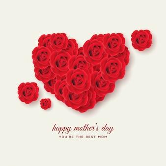 Moederdagachtergrond met illustraties van 3d rode rozen die liefde vormen