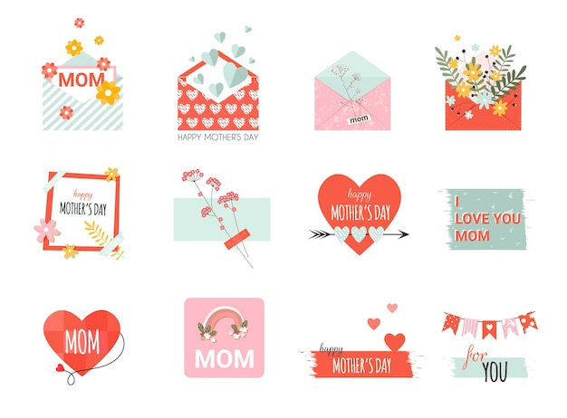 Moederdagelementen met envelop met bloemen, brief, kaart met hart en belettering in vlakke stijl