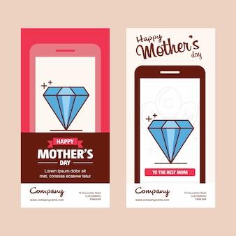 Moederdagkaart met diamantembleem en roze themavector