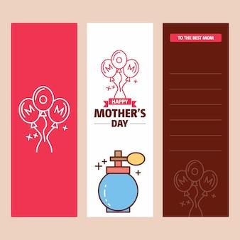Moederdagkaart met parfumembleem en roze themavector