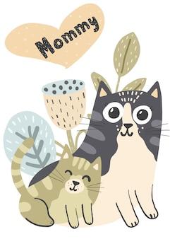 Moederkat en haar illustratie van het babykatje. mama kaart