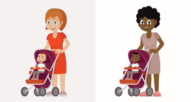 Moeders communiceren en rijden peuters in kinderwagens