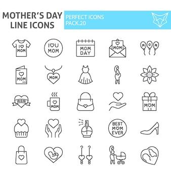 Moeders dag lijn icon set, moederschap collectie