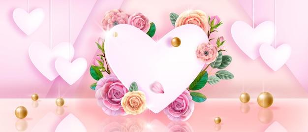 Moeders, valentijnsdag roze liefde florale achtergrond met witte harten, rozen, bloemen, bladeren, parels. vakantie romantisch