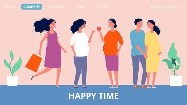 Moederschap bestemmingspagina. gelukkige zwangere vrouwen. cartoon platte illustratie