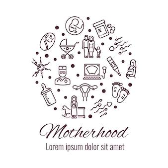 Moederschap dunne lijn pictogrammen om vorm vorm concept