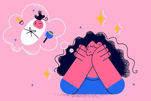 Moederschap en dromen van babyconcept