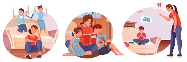 Moederschap illustraties set