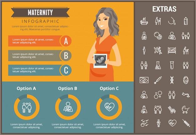 Moederschap infographic sjabloon, elementen en pictogrammen