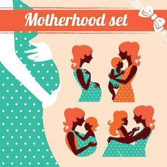 Moederschap ingesteld. silhouetten van moeder en baby