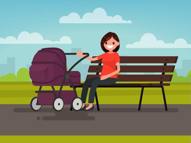 Moederschap. jonge moeder zittend op een bankje met een kinderwagen in het park. illustratie