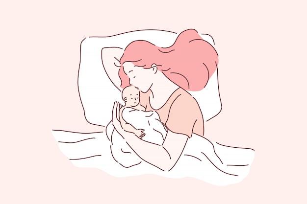 Moederschap, kinderopvang, tederheid. moeder en pasgeboren baby samen slapen, moeder knuffelen en zoenen baby, mama en baby liggend in bed, moederdag en ouderschap. eenvoudig plat