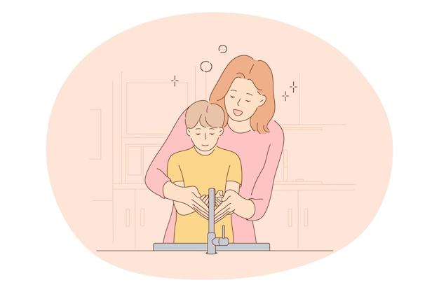 Moederschap, moeder en zoon, moederdag concept. jonge positieve vrouw moeder stripfiguur