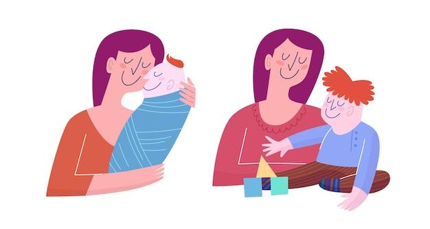 Moederschap scènes. moeders met kinderen: moeder knuffelt een pasgeborene en moeder speelt met het kind. plat schattig