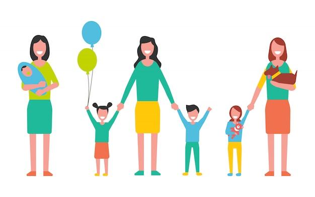 Moederschap vector vrouw die voor kinderen zorgt